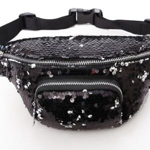 Handbags - Black Sequin Fanny Pack